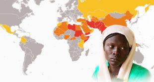Mapa Światowego Indeksu Prześladowań 2019